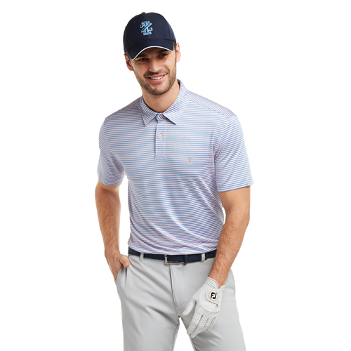 Men's Greenie Stripe Golf Polo, Pink, swatch