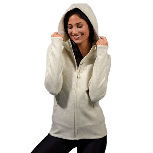 Women's Missy Long Sleeve Crossover Hoodie, Cream,Natural,Eggshell, swatch
