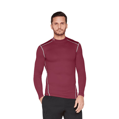 Men's ColdGear EVO Fitted Mock Long Sleeve Shirt, Maroon, swatch