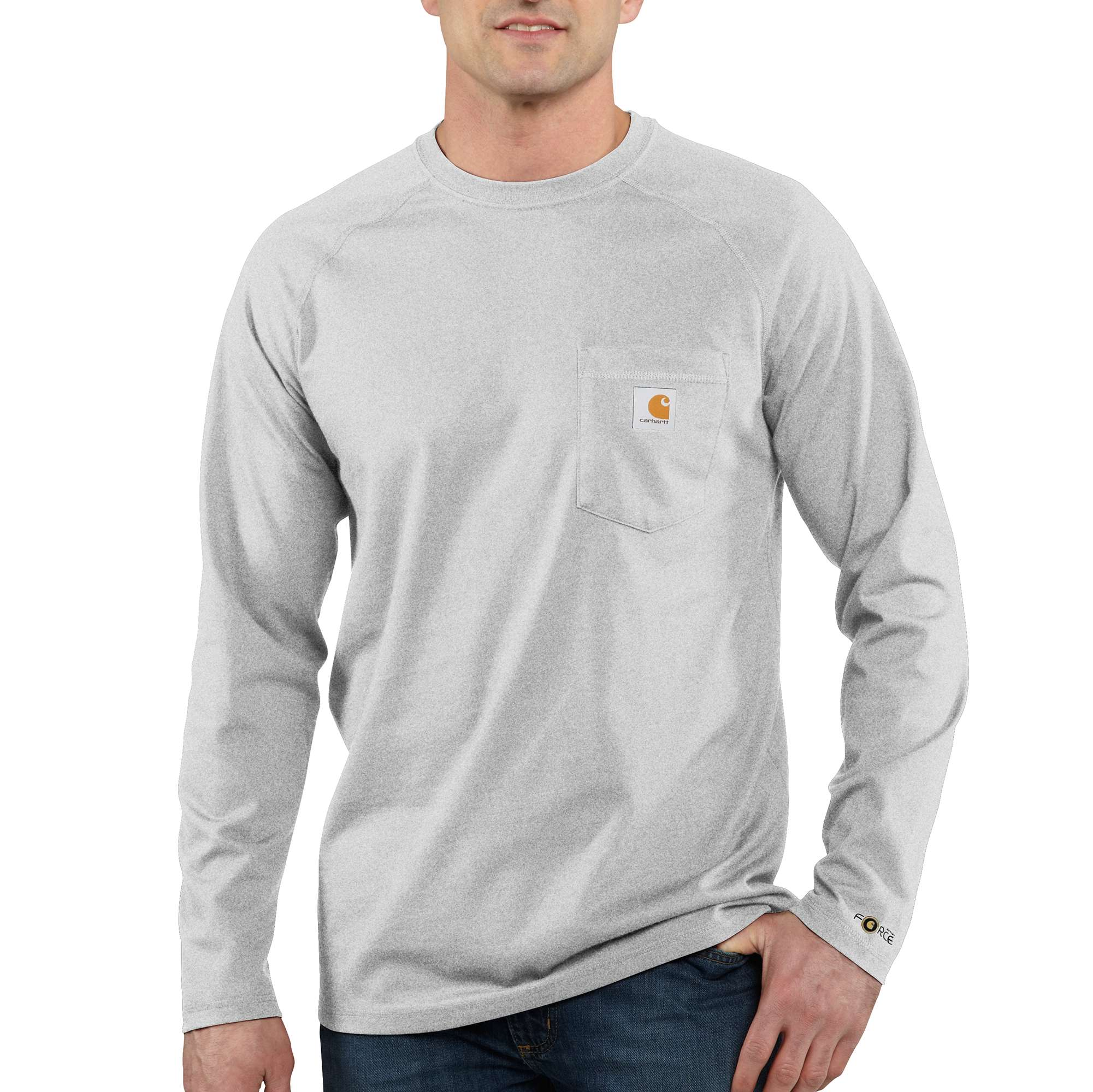 Men's Long Sleeve Force Cotton Tee, Heather Gray, swatch