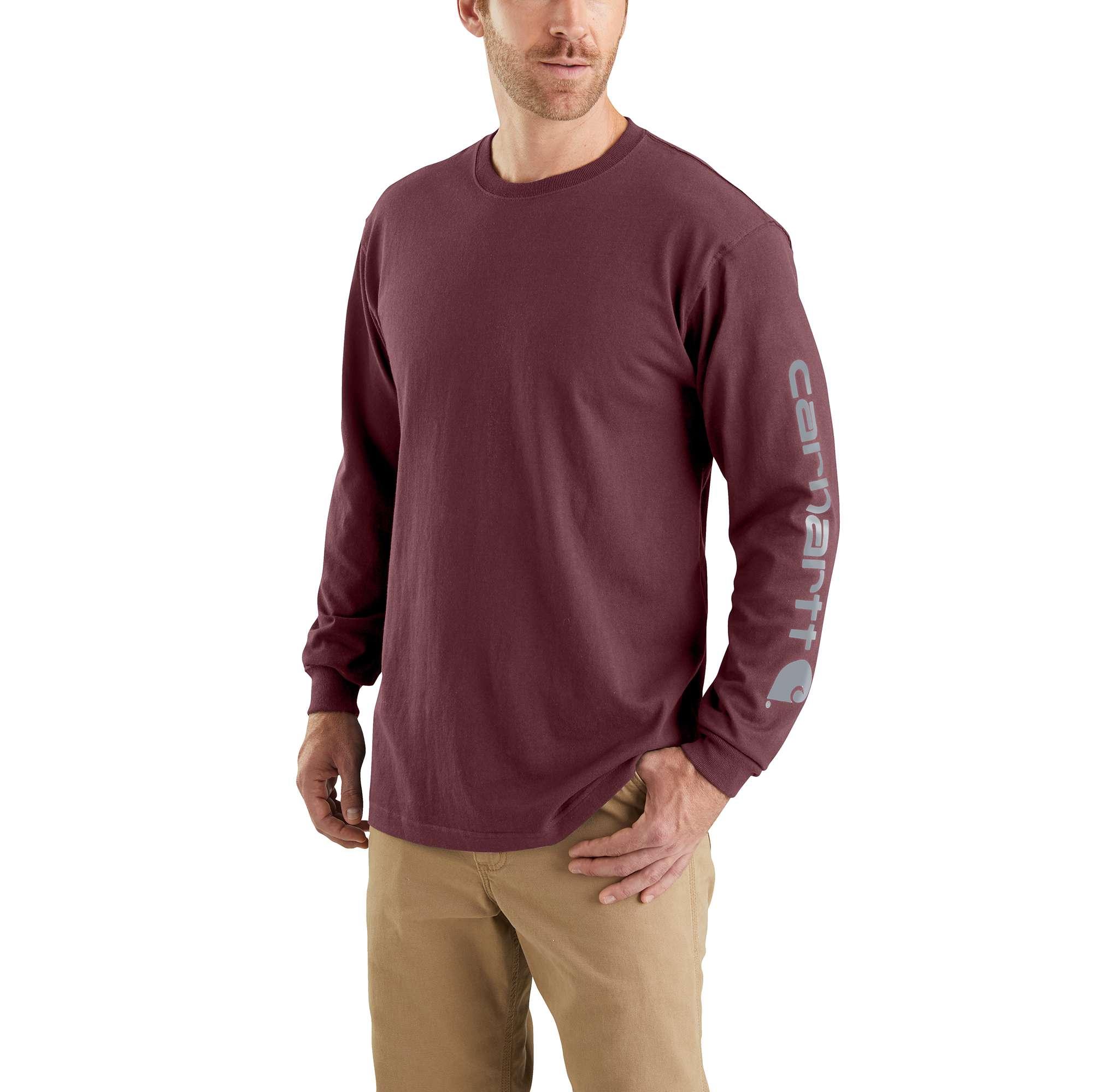 Men's Workwear Long-Sleeve Graphic Logo T-Shirt, Crimson, swatch