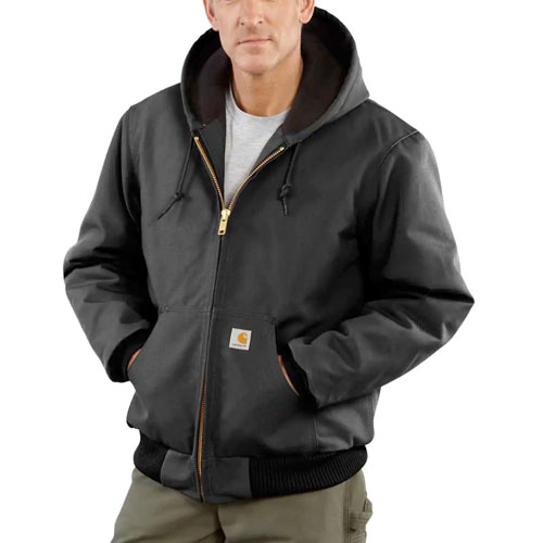 Men's Duck Quilted Flannel-Lined Active Jacket, Black, swatch