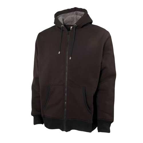 Men's Long Sleeve Sherpa Lined Hoodie, Black, swatch