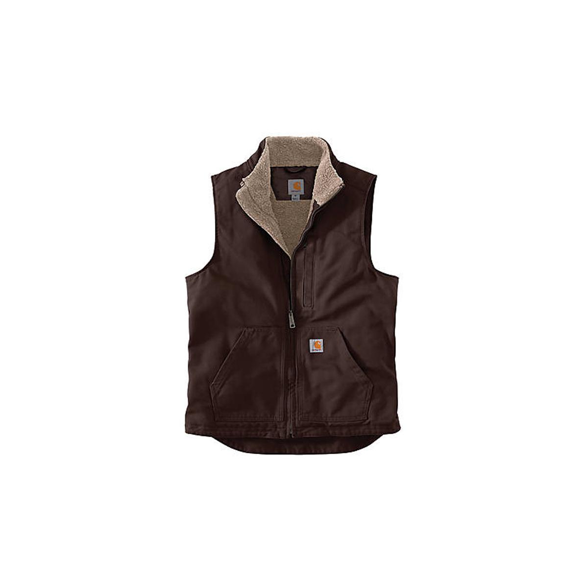 Men's Washed Duck Mock Neck Vest, Dark Brown,Dark Natural, swatch