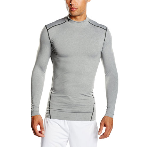 Men's ColdGear EVO Fitted Mock Long Sleeve Shirt, Heather Gray, swatch