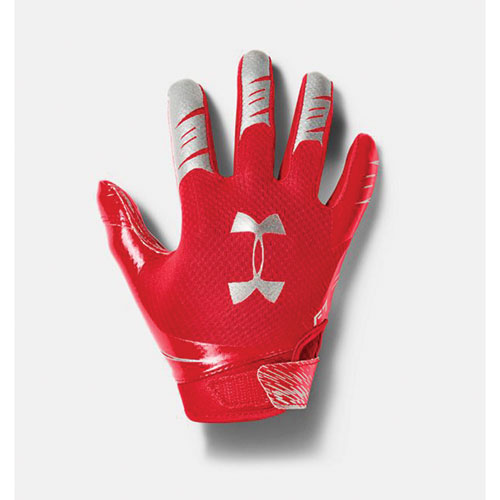 Youth F7 Football Receiver Gloves, Red, swatch