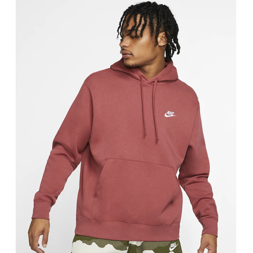 Men's Sportswear Club Fleece Pullover Hoodie, Dk Red,Wine,Ruby,Burgandy, large