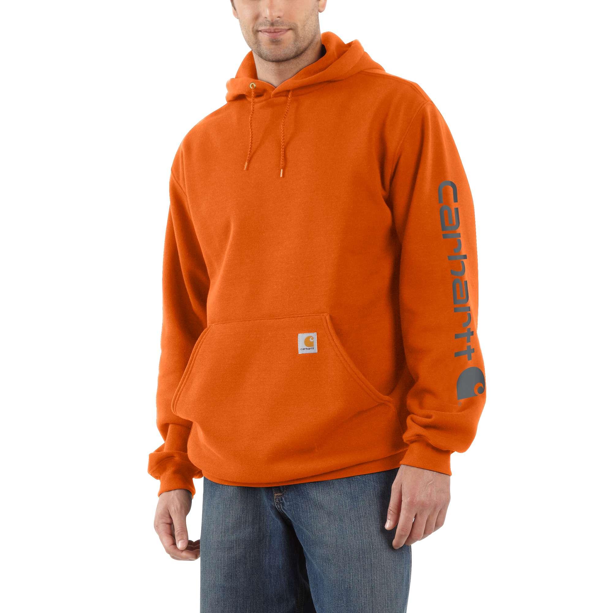 Men's Midweight Signature Logo Sleeve Hooded Sweat, Orange, swatch