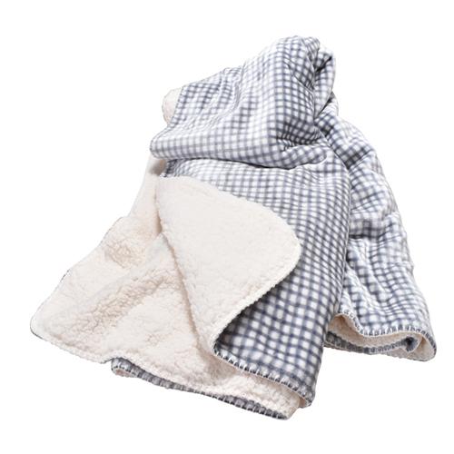 Gingham Sherpa Throw Blanket, Black/White, swatch
