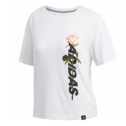 Women's Floral Crop Tee, White, swatch