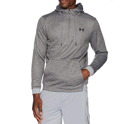 Men's Armour Fleece 1/2 Zip Hoodie, Charcoal,Smoke,Steel, swatch