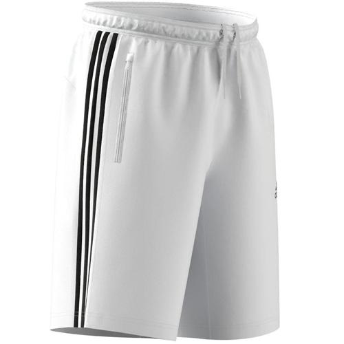 Men's 3 Stripe Poly Interlock Shorts, White/Black, swatch