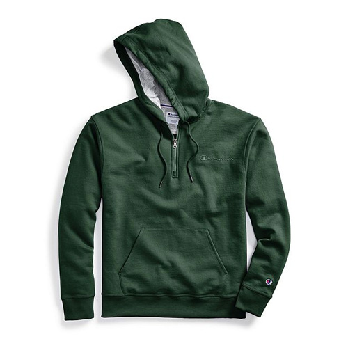 Men's Powerblend Embroidered Logo Fleece Quarter Zip Hoodie, Dkgreen,Moss,Olive,Forest, swatch