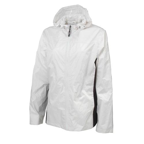 Women's Lightweight Rain Jacket, White/Black, swatch