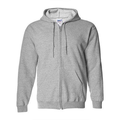 Men's Full Zip Long Sleeve Hoodie, Heather Gray, swatch
