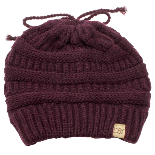 Women's Solid Ponytail Beanie, Med Purple,Plum,Grape, swatch