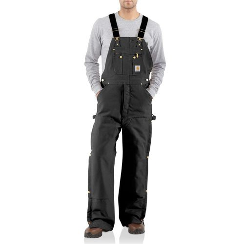 Men's Duck Zip-to-Thigh Bib Quilt Lined Overall, Black, swatch