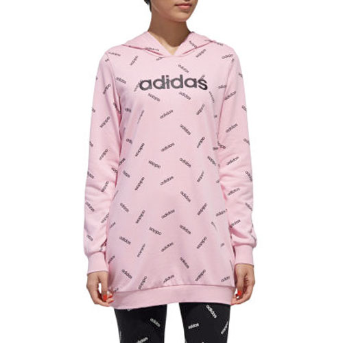 Women's All Over Print Tunic Hoodie, Pink, swatch