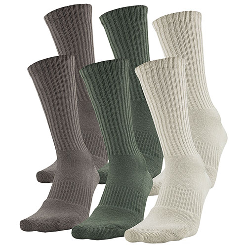 Charged Cotton 2.0 Crew Socks 6-Pack, Neutral,Plain,Topaz, swatch