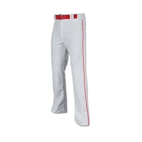 Men's Pro-Plus Open Bottom Baseball Pants, Gray/Red, swatch
