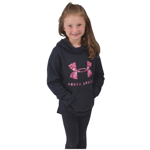 Girl's Rival Print Fill Logo Hoodie, Black, swatch