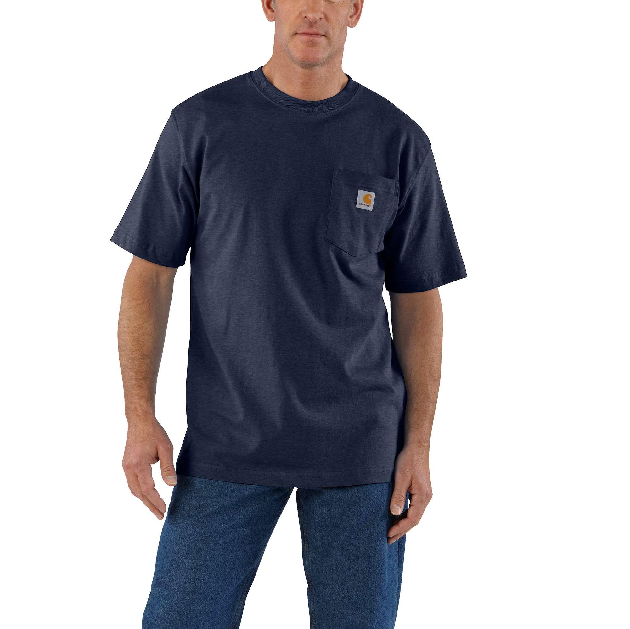 Men's Workwear Pocket Tee, Gray/Navy, swatch