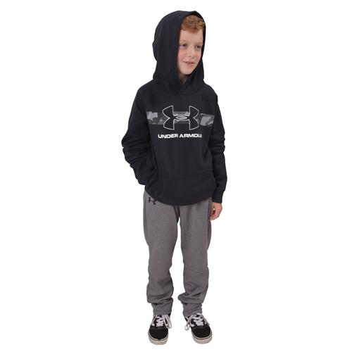 Boy's Rival Camo Chest Big Logo Hoodie, Black, swatch