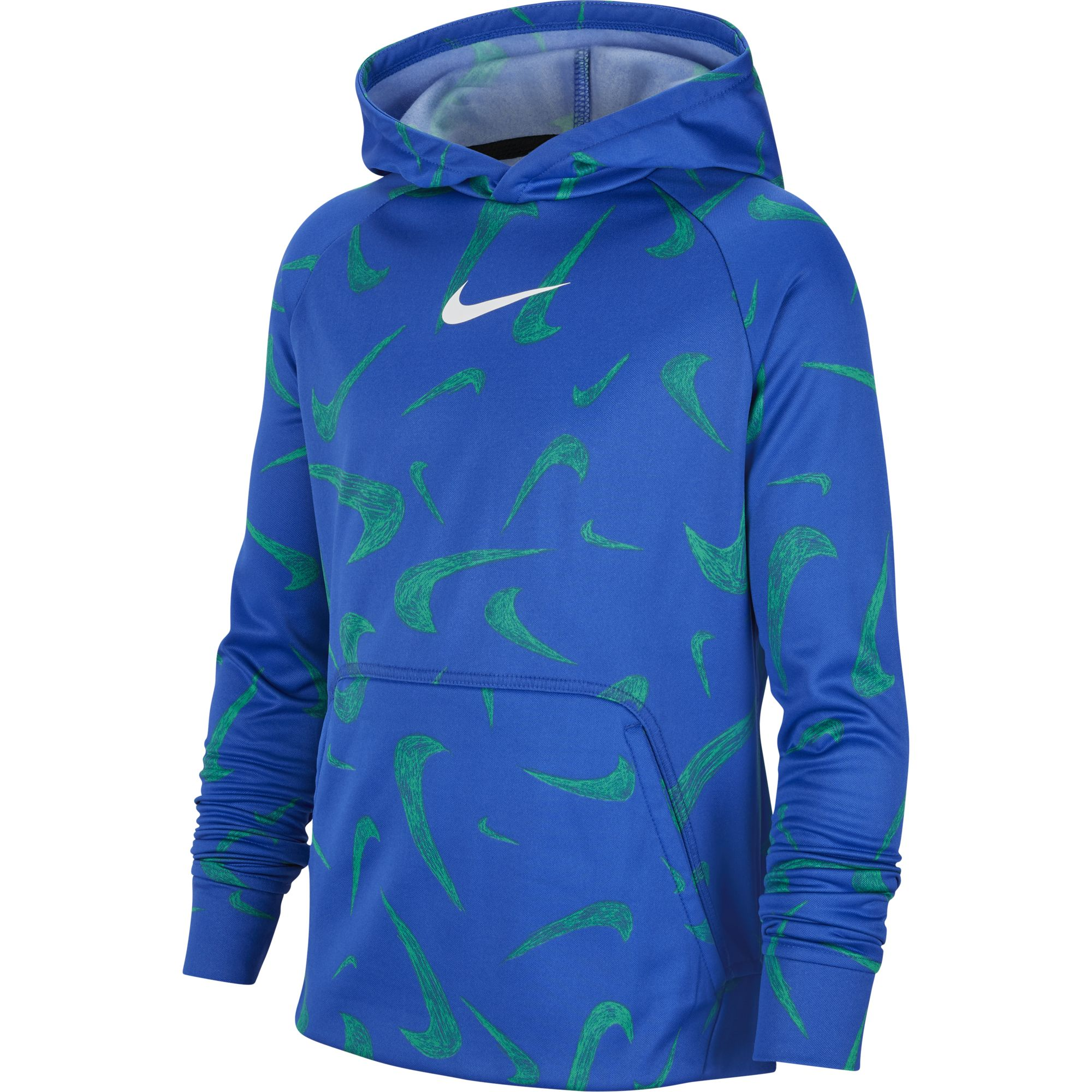Boys' Printed Pullover Training Hoodie, Blue, swatch