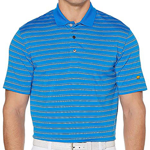 Jack Nicklaus Three Color Men's Striped Polo, Blue/Yellow, swatch