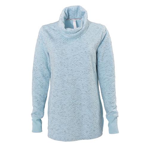 Women's Jacquard Long Sleeve Quilt Cowl Neck Sweatshirt, Lt Blue,Powder,Sky Blue, swatch