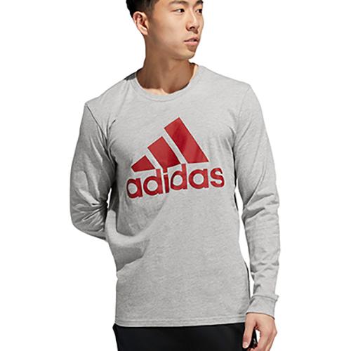 Men's Badge Of Sport Long Sleeve T-Shirt, Heather Gray, swatch