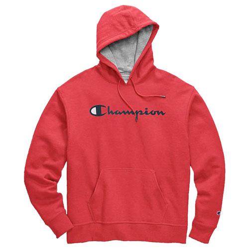 Men's Scipt Logo Powerblend Fleece Pullover Hoodie, Red, swatch