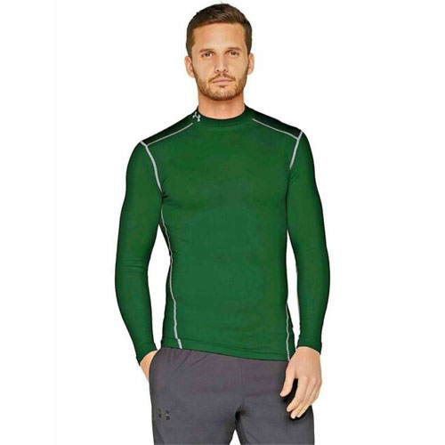 Men's ColdGear EVO Fitted Mock Long Sleeve Shirt, Dkgreen,Moss,Olive,Forest, swatch