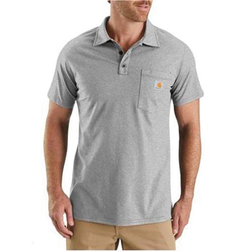 Men's Force Cotton Delmont Pocket Polo, Heather Gray, swatch