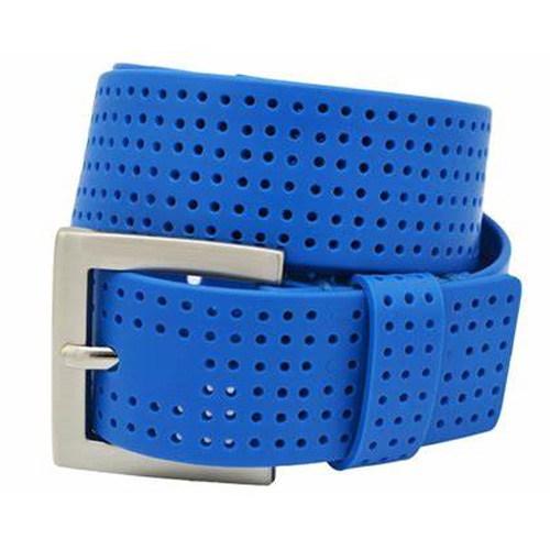 Men's Perforated Fashion Color Silicone Belt, Royal Bl,Sapphire,Marine, swatch