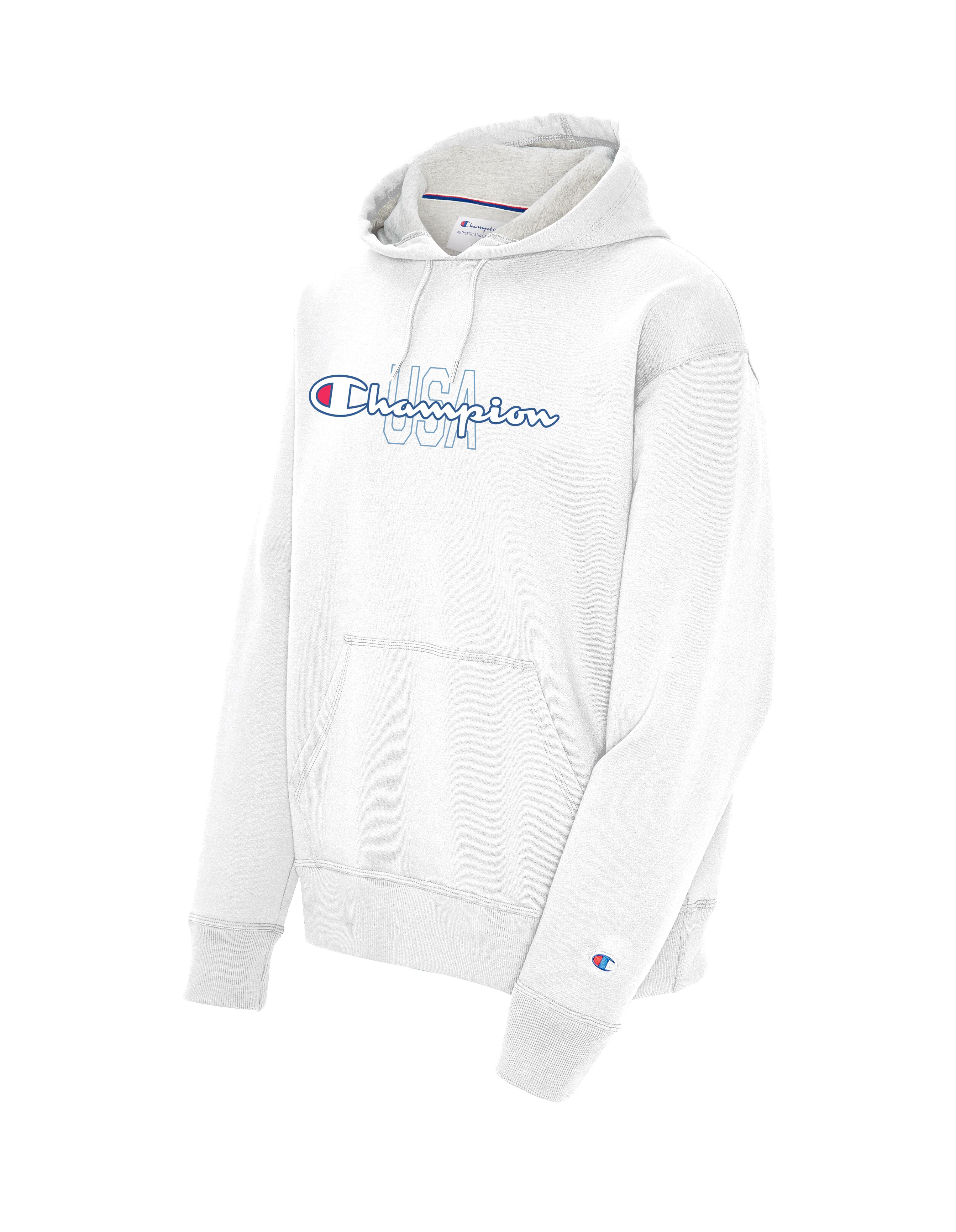 Men's Big Logo USA Hoodie, White, swatch
