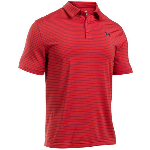 Men's Short Sleeve Striped Polo Golf Shirt, Red, swatch