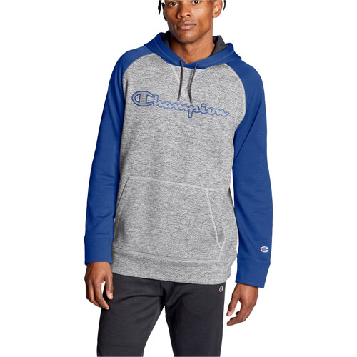 Men's Stadium Fleece Raglan Hoodie, Gray/Blue, swatch