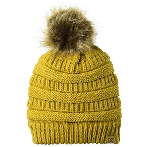 Women's Slinky Beanie With Faux Fur Pom, Gold, Yellow, swatch