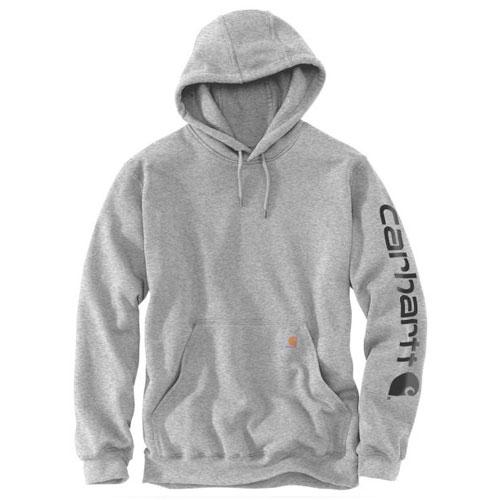 Men's Signature Sleeve Logo Hooded Sweatshirt, Gray/Black, swatch