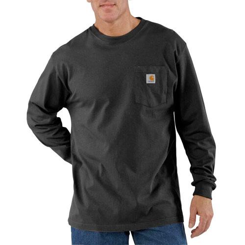 Men's Workwear Long Sleeve Pocket T-Shirt, Black, swatch