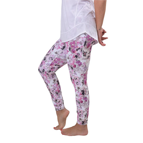 Women's Peached Floral Print 7/8 Leggings, Pink, swatch