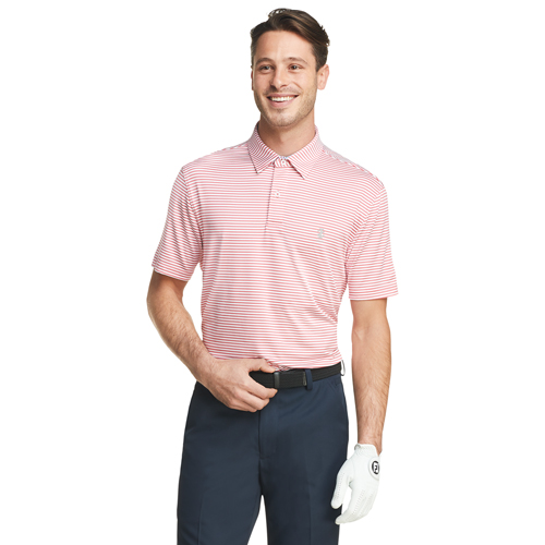 Men's Greenie Stripe Golf Polo, Red, swatch