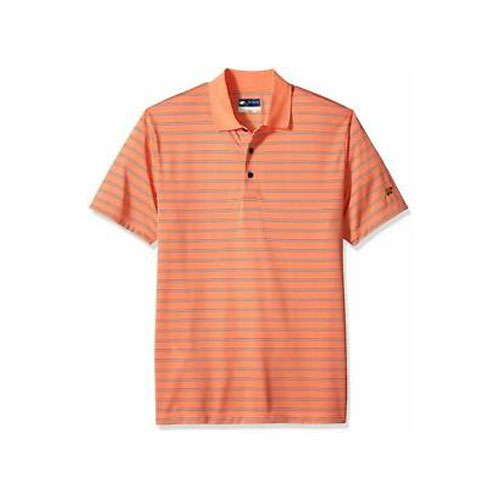 Men's Short Sleeve Striped Polo, Coral, swatch