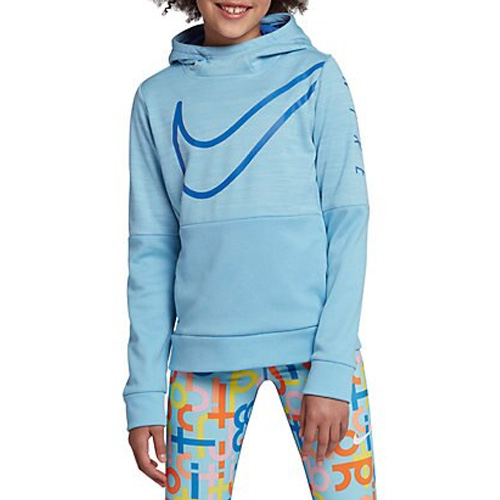 Girl's Therma Swoosh Training Hoodie, Blue, swatch