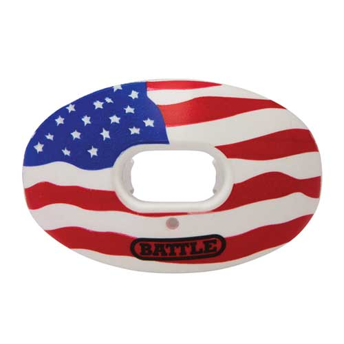 Men's Novelty Oxygen Football Mouth Guard, Red, White And Blue, swatch