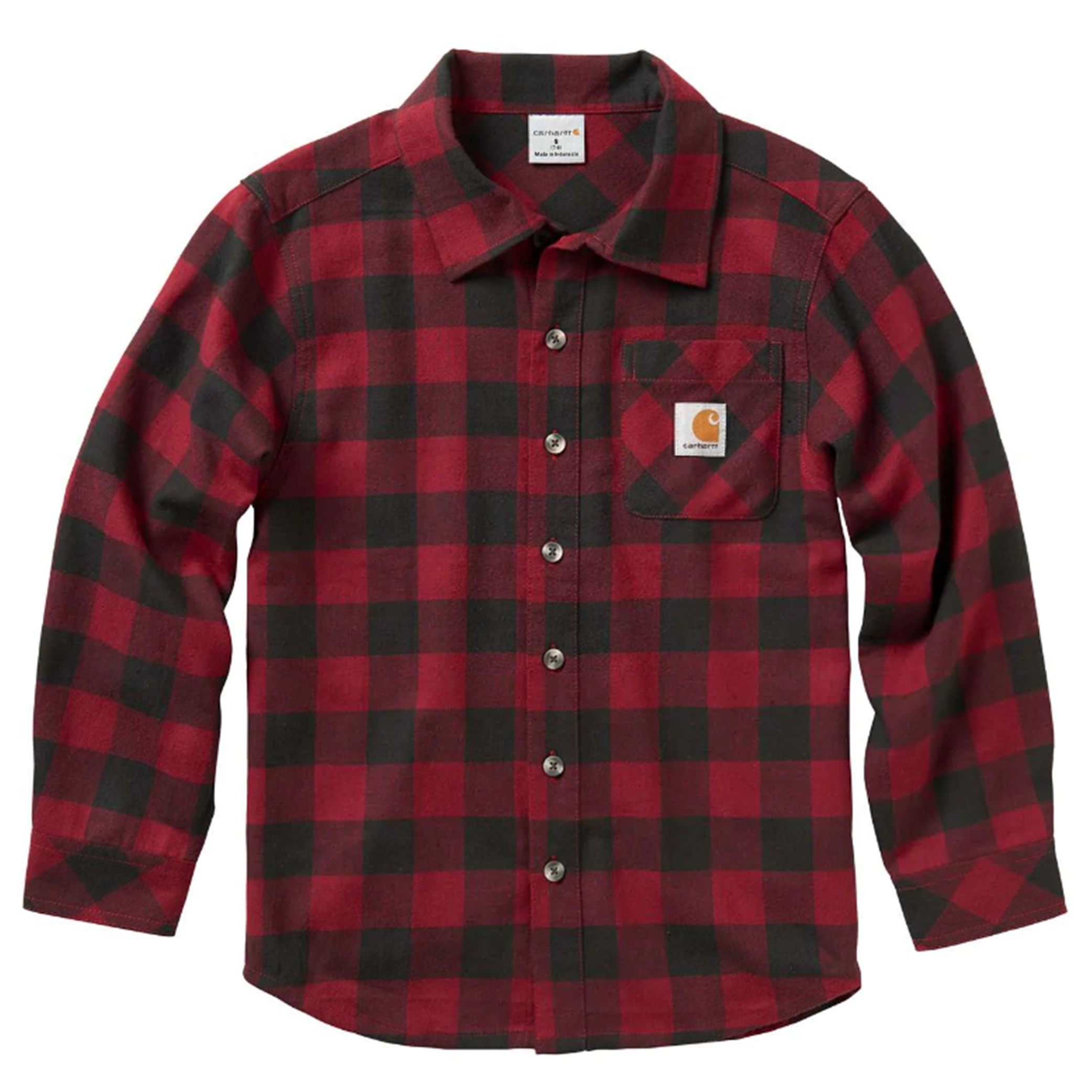 Boy's Shirt Long Sleeve Plaid Shirt, Red/Black, swatch