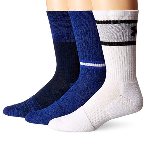 Men's Phenom Solid Crew Socks 3-Pack, Blue/White, swatch