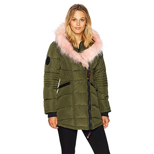 Women's 2-Pocket Puffer Jacket, Dkgreen,Moss,Olive,Forest, swatch