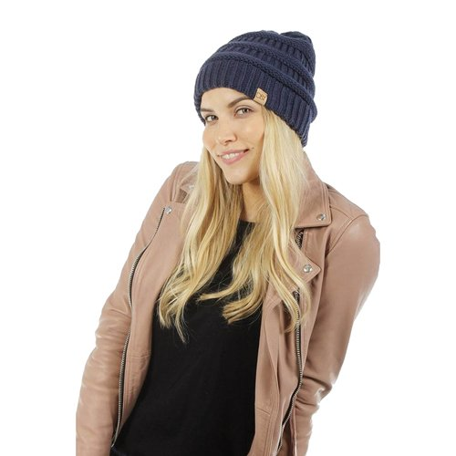 Women's Knitted Beanie, Navy, swatch